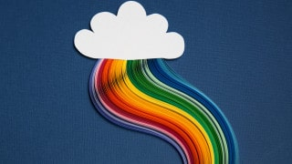 Cloud with colourful wires streaming below. R&D Tax relief cloud computing