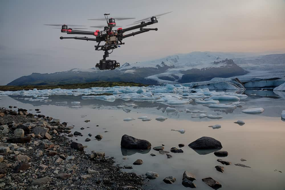 A UAV surveys an iceberg