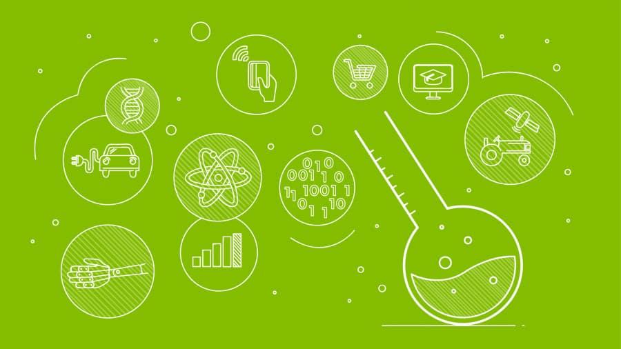 Cluster of tech symbols