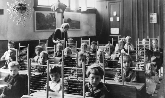 vintage classroom photograph with abacus