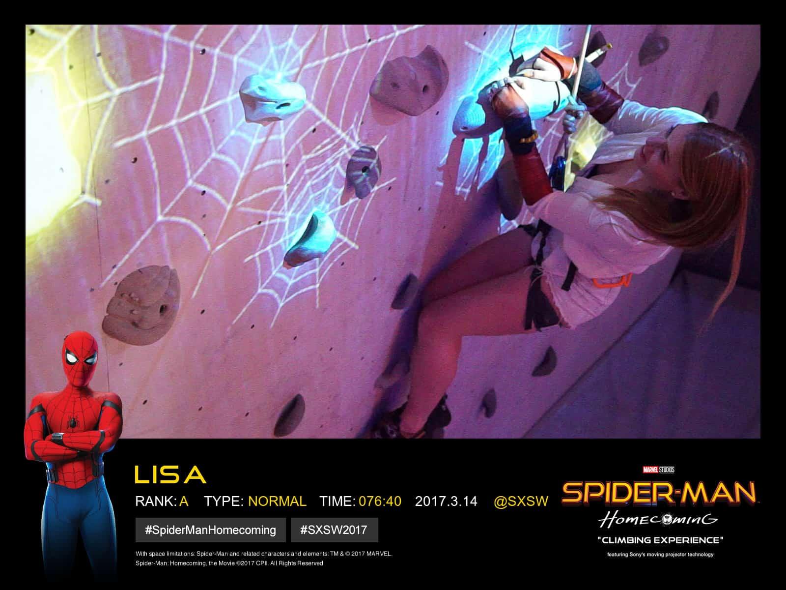 Lisa-Marie climbing Sony's Spiderman wall