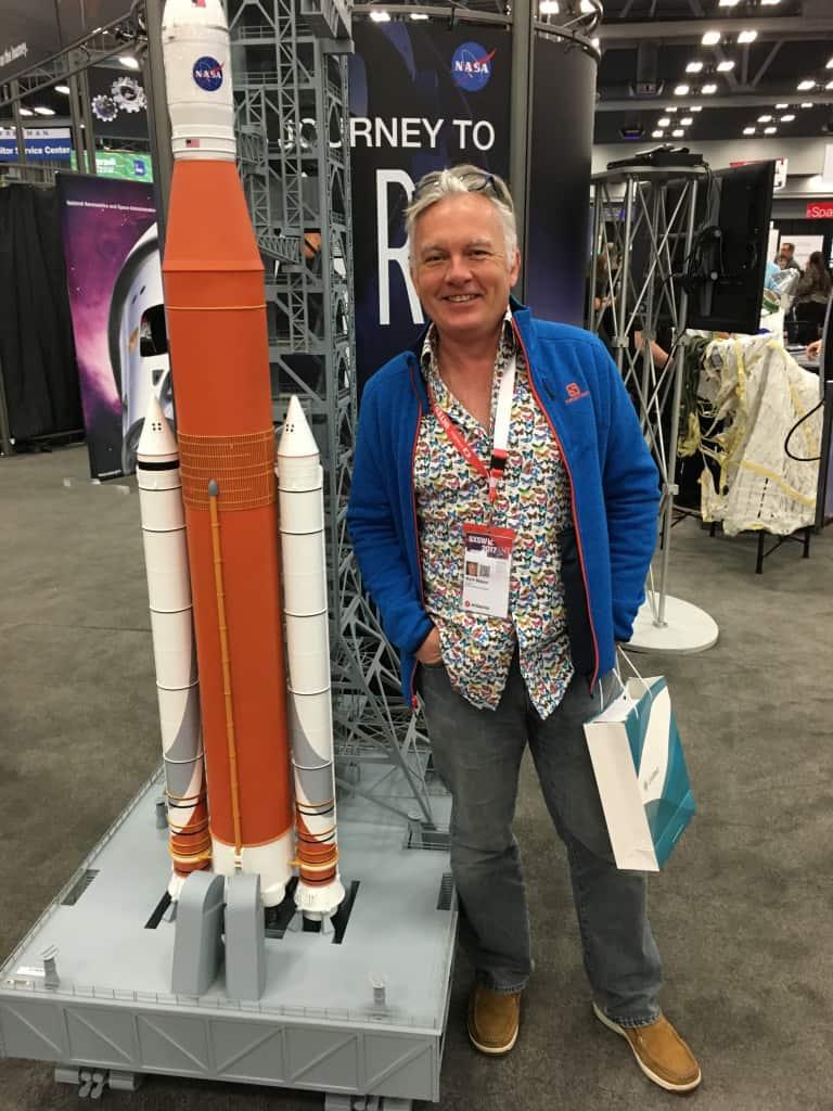 Executive chairman Mark Mason with NASA model in Austin, Texas