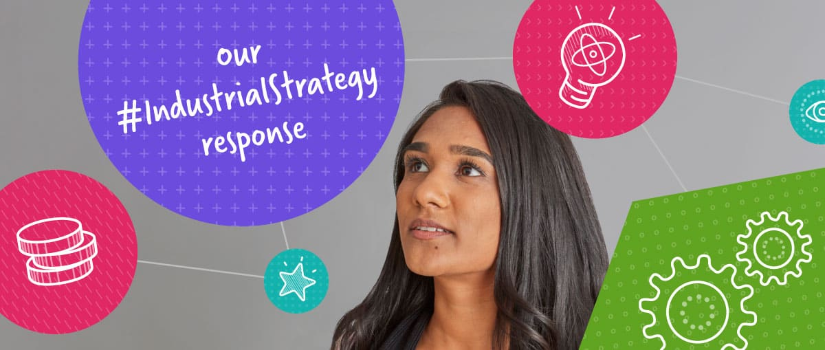 Industrial Strategy Consultation Reponse - girl surrounded by illustrated bubbles