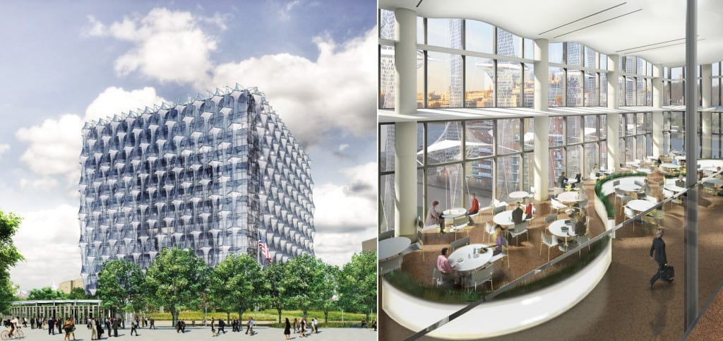 Collage of designs for the new US Embassy building by Kieran Timberlake
