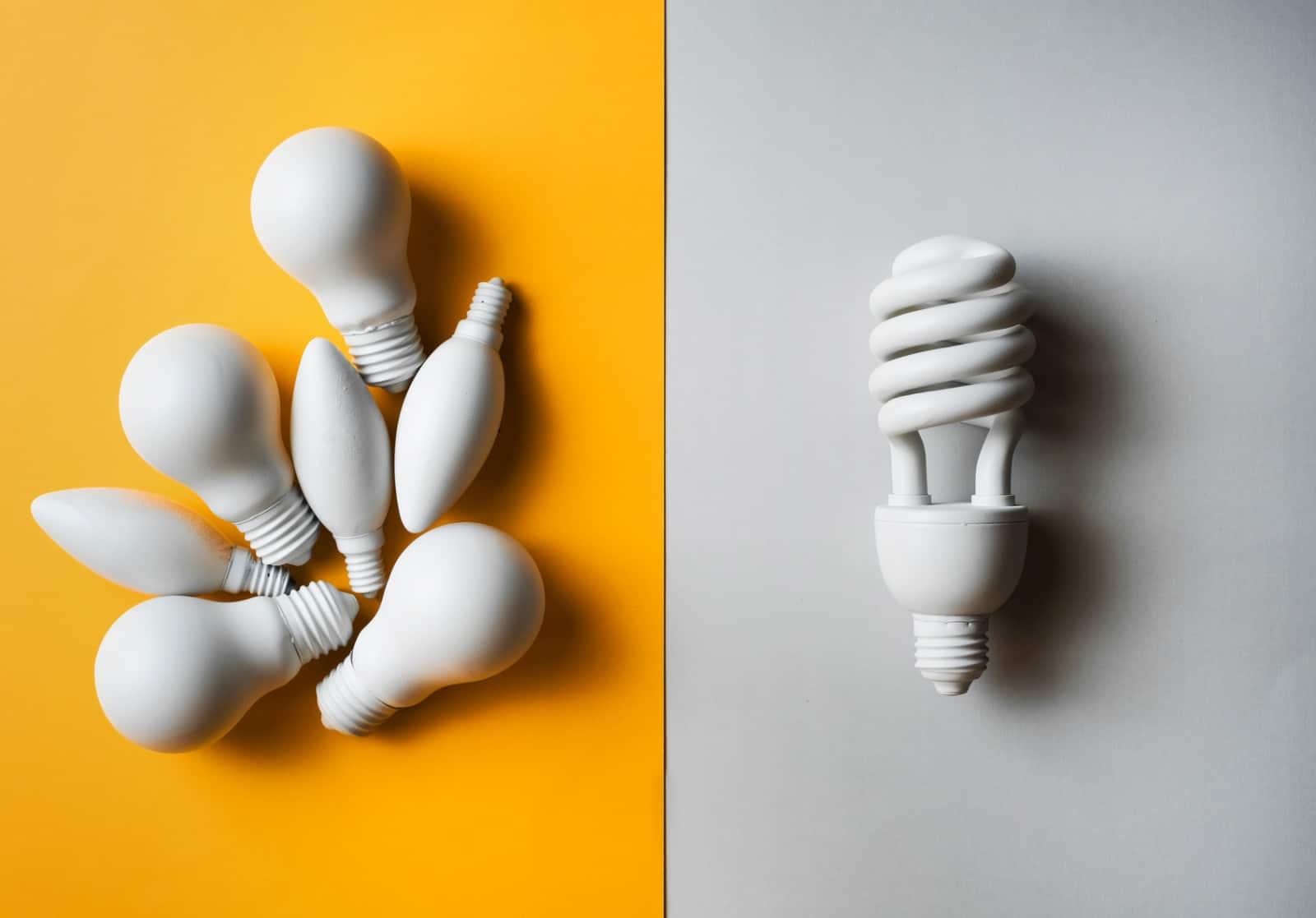 LED lights alongside regular light bulbs