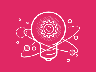 Pink innovation lightbulb icon