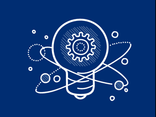 Dark blue innovation lightbulb icon