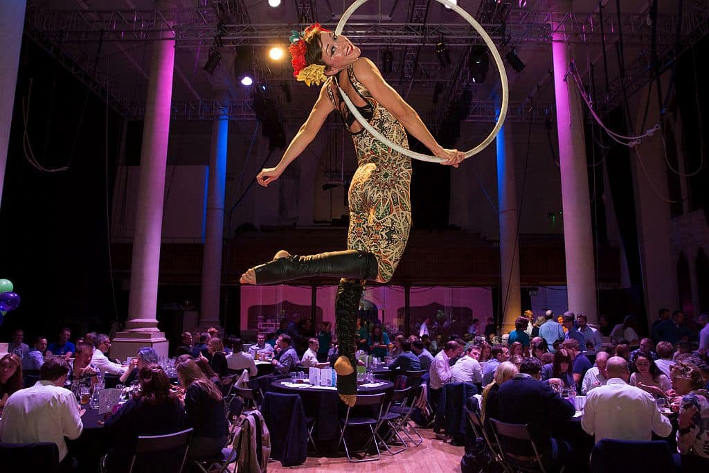 Charity quiz aerialist on hoop at Circomedia