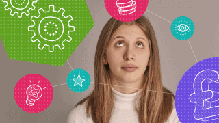 Industrial strategy - woman with innovation icons