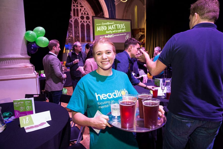 Lisa-Marie Smith serves pints at charity quiz