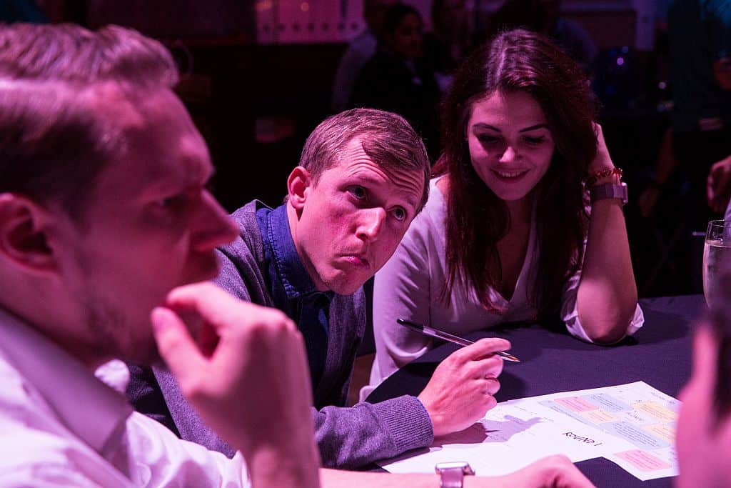 Man looks puzzled at charity quiz