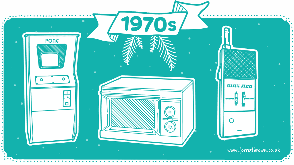 Tech gifts from the 1970s illustration