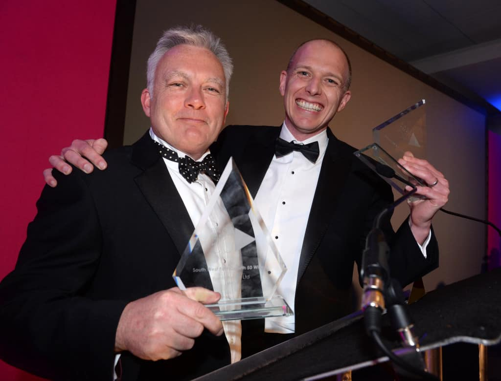 ForrestBrown's Simon Brown and Mark Mason celebrating being voted number 1 fastest growing company in the South West.
