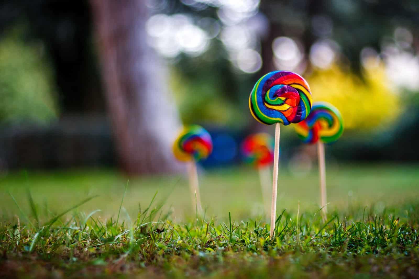lollipop flowers in grass showing innovation funding in uk