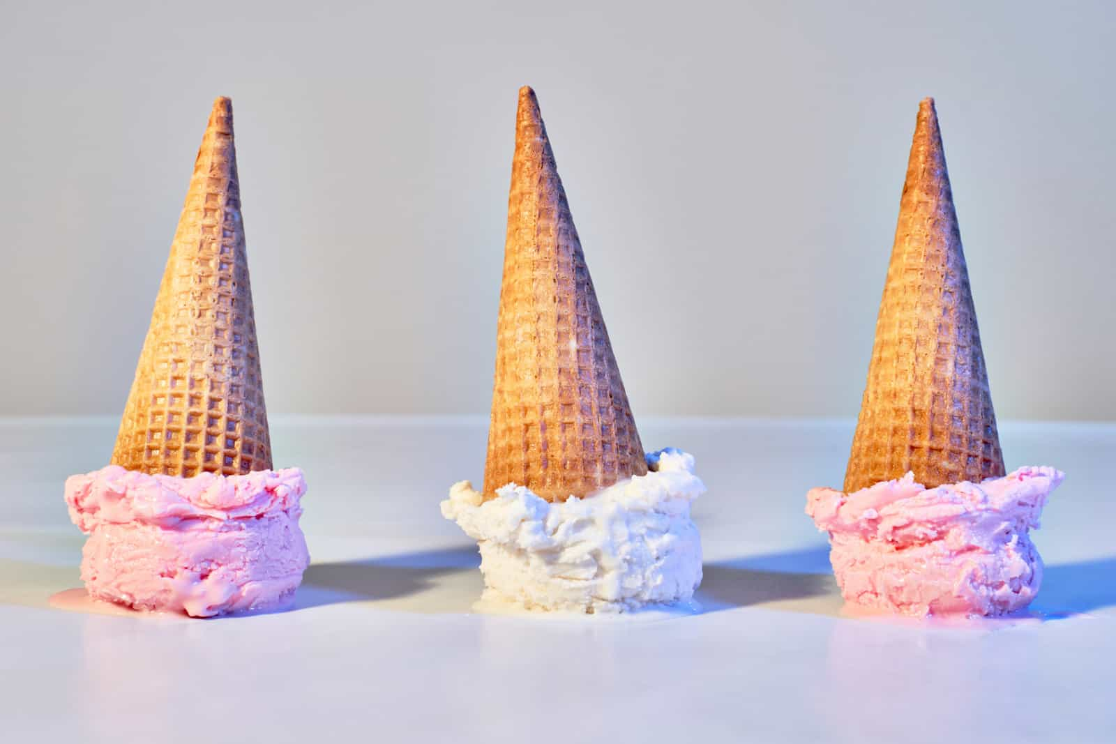 Ice cream cones shot in the style of Mid-Century pop art
