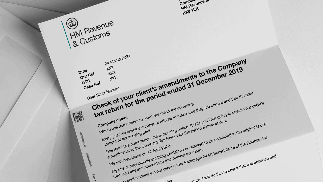 Example HMRC compliance check letter