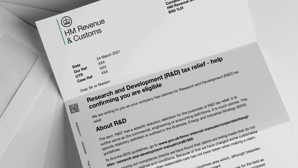example of a HMRC R&D nudge letter - eligibility check